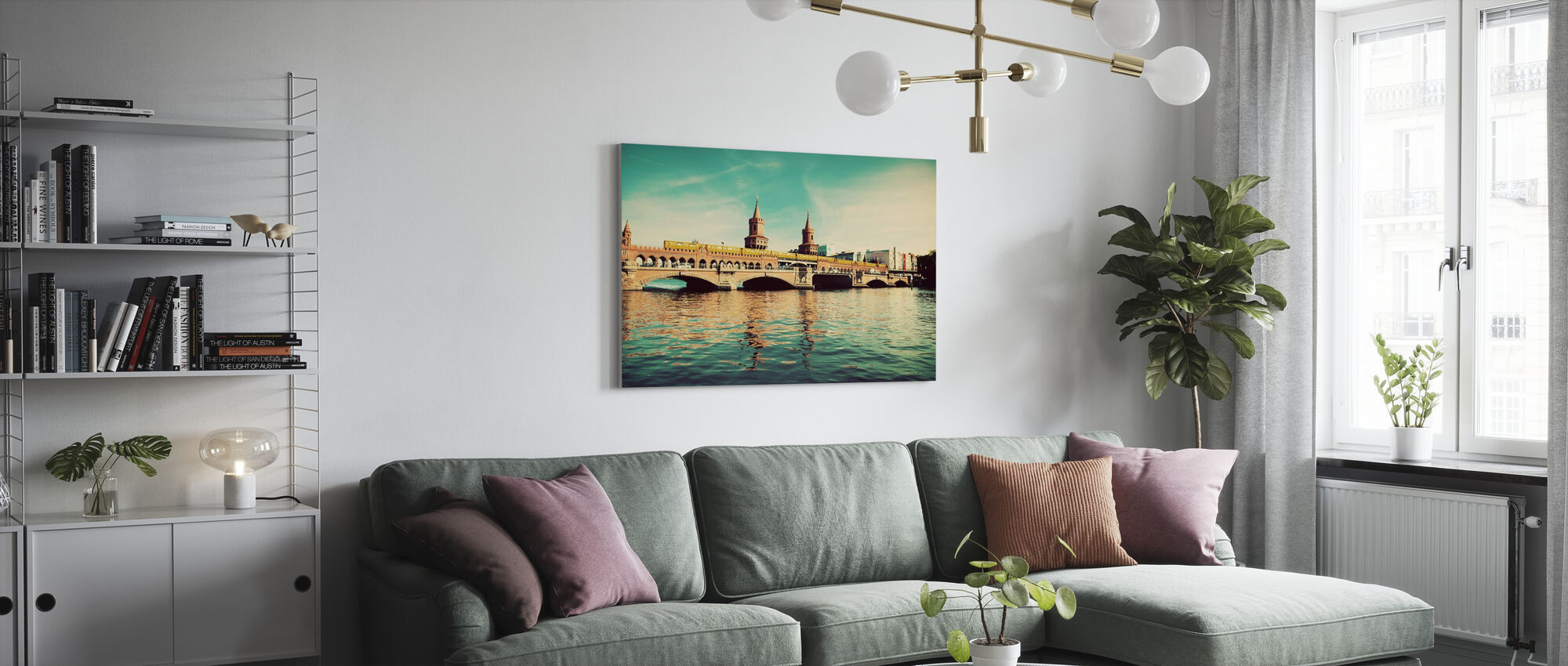 The Oberbaum Bridge and River Spree in Berlin - Canvas print - Living Room