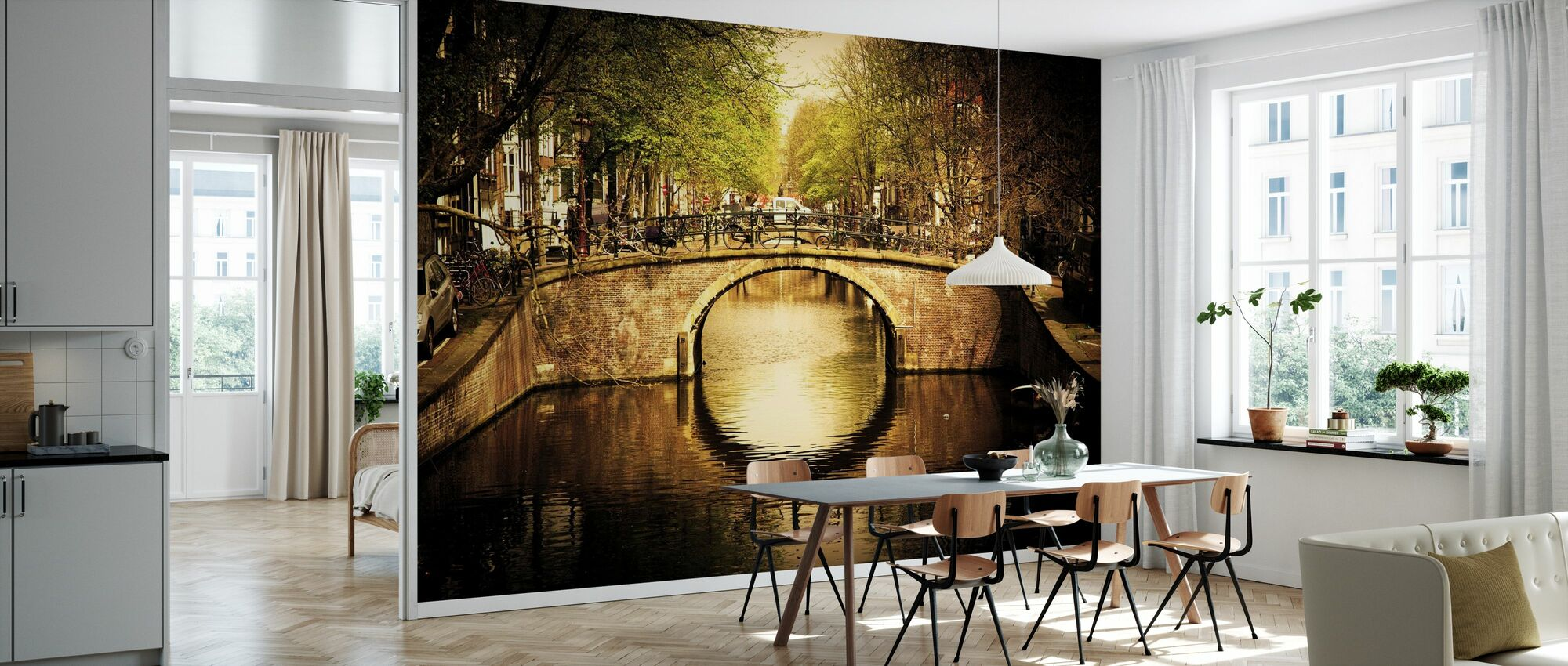 Romantic Bridge Over Canal in Amsterdam - Wallpaper - Kitchen