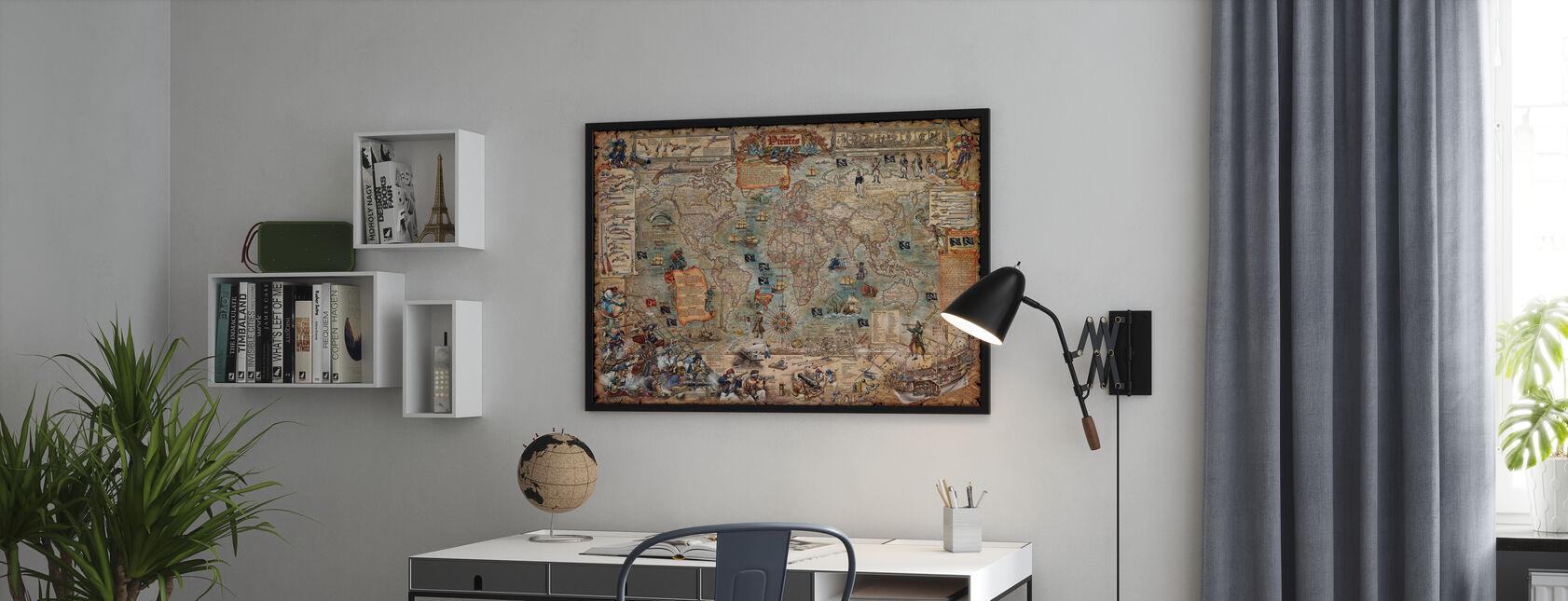 Pirate Kartta - Kehystetty kuva - Toimisto