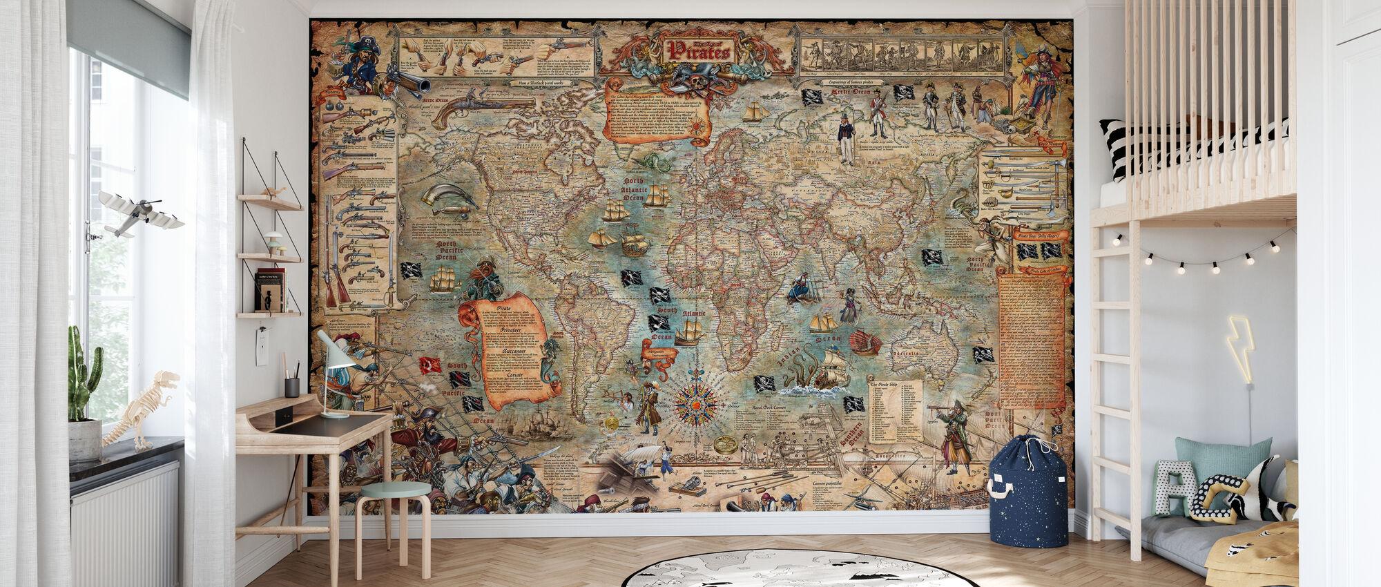 Pirate Map - Wallpaper - Kids Room