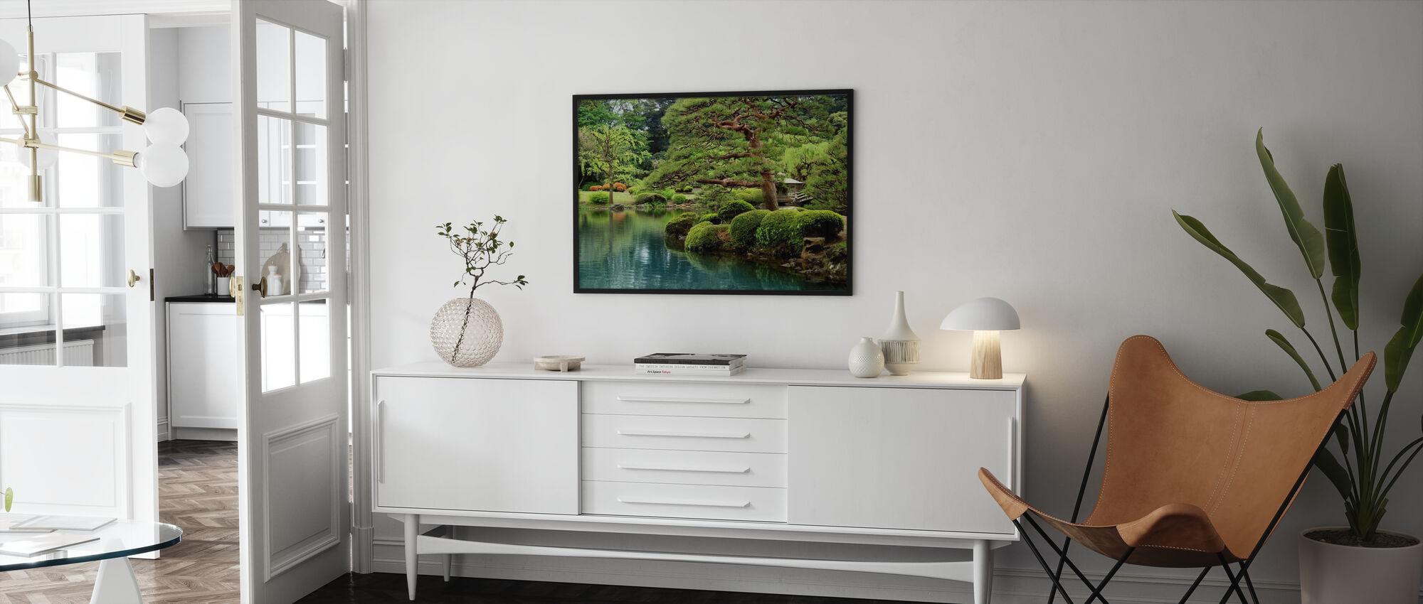 Calm Zen Lake and Bonsai Trees in Tokyo Garden - Poster - Living Room