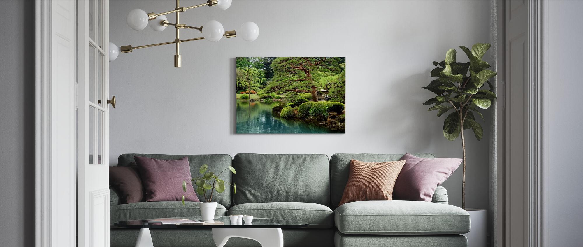 Calm Zen Lake and Bonsai Trees in Tokyo Garden - Canvas print - Living Room