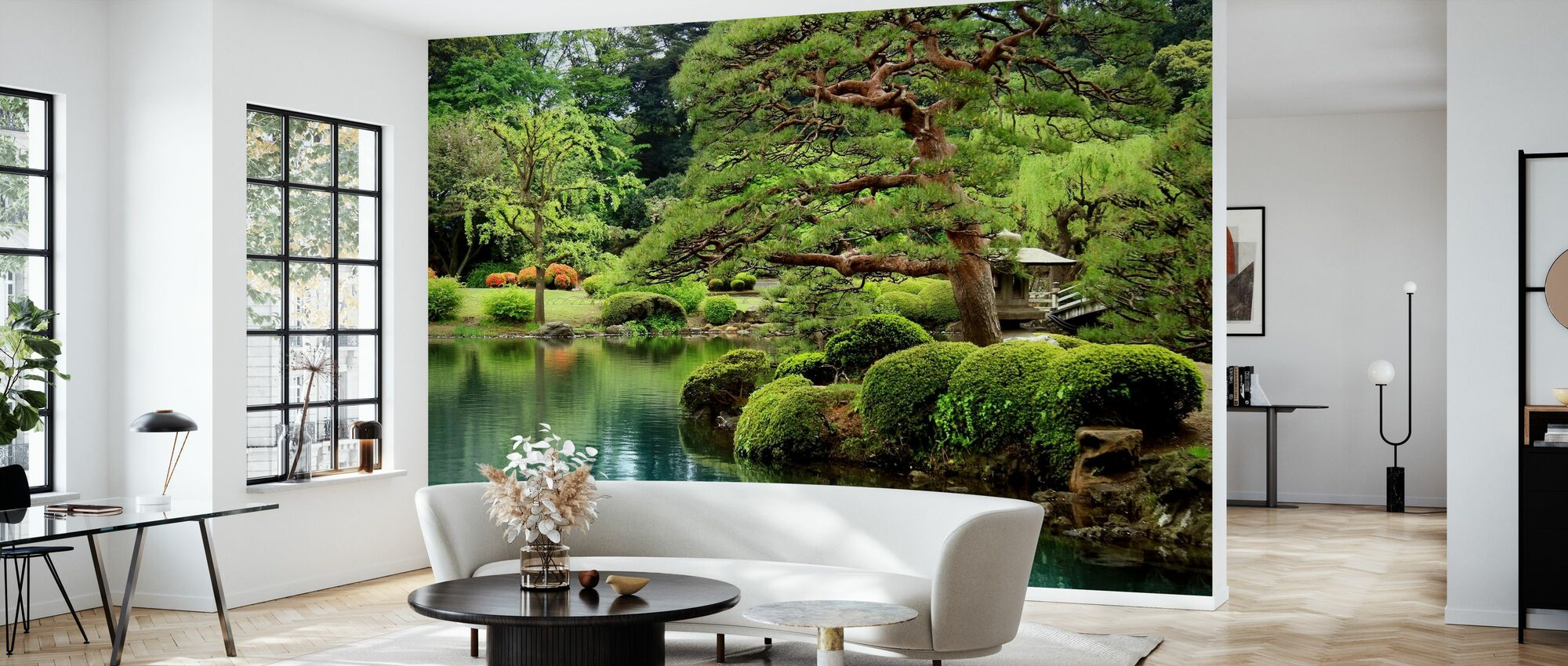 Calm Zen Lake and Bonsai Trees in Tokyo Garden - Wallpaper - Living Room