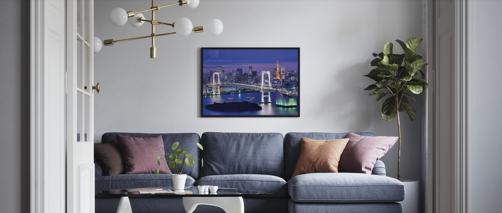 Rainbow Bridge and Tokyo Tower - Framed print - Living Room