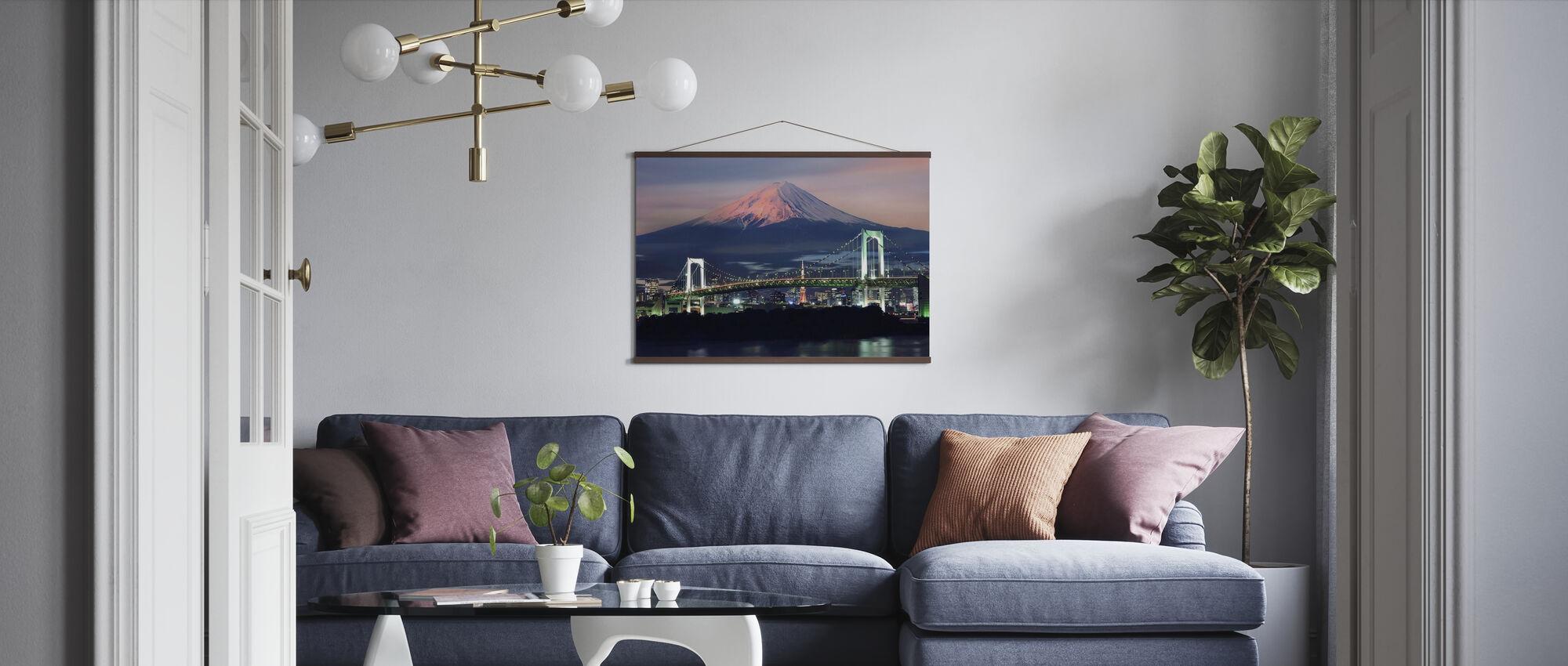 Rainbow Bridge with Mt Fuji - Poster - Living Room