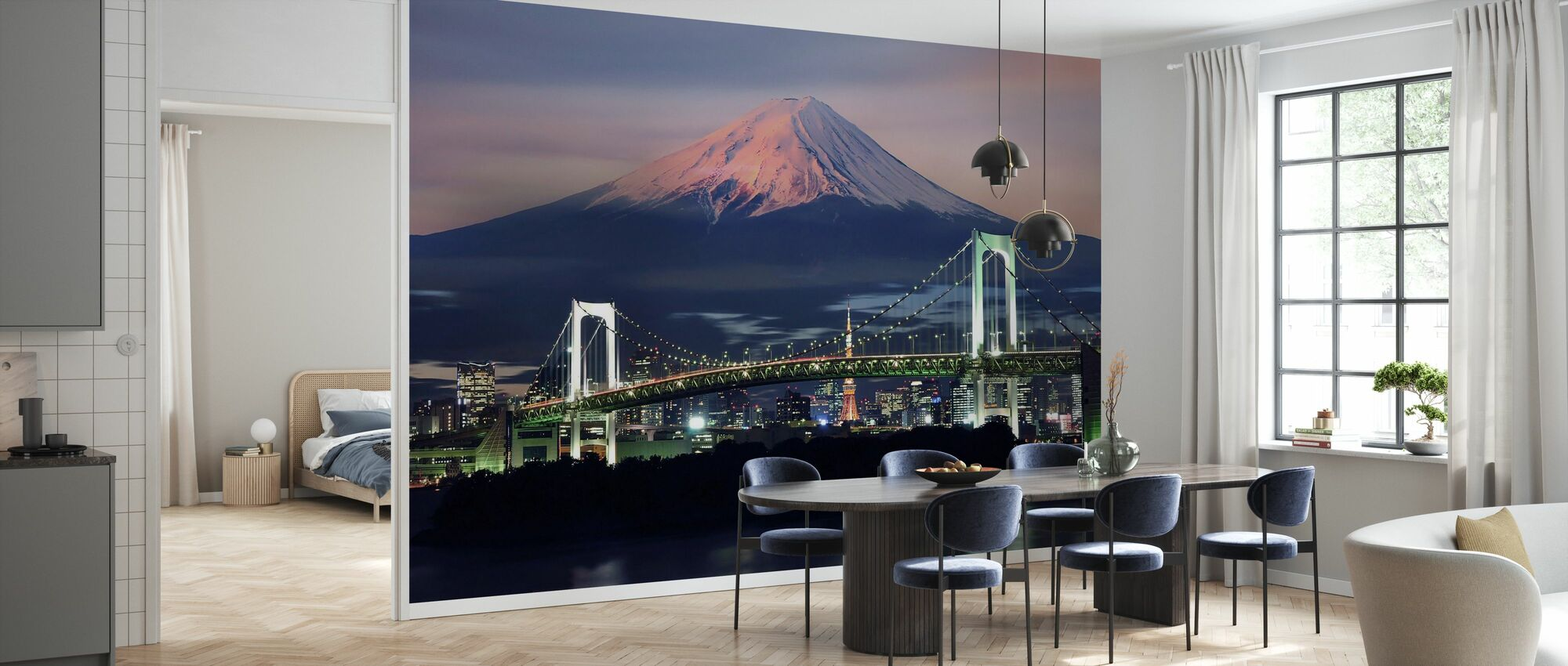 Regenboogbrug met Mt Fuji - Behang - Keuken