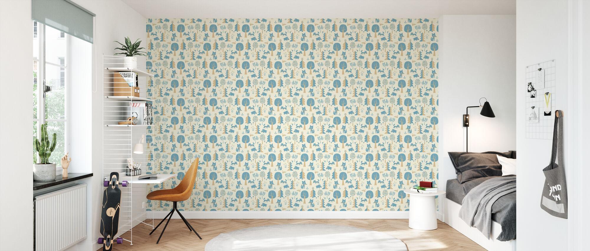 Forêt - Bleu - Papier peint - Chambre des enfants