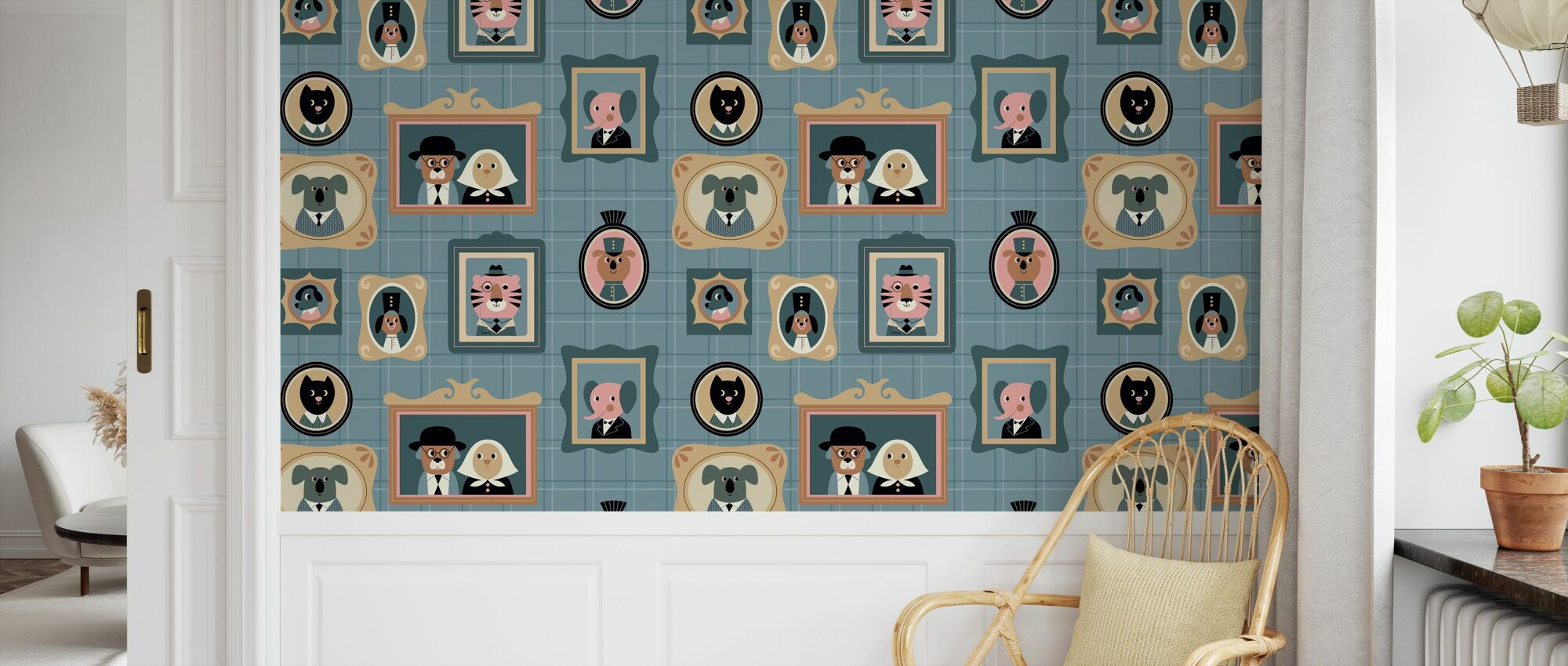 Frames - Blue - Wallpaper - Kids Room