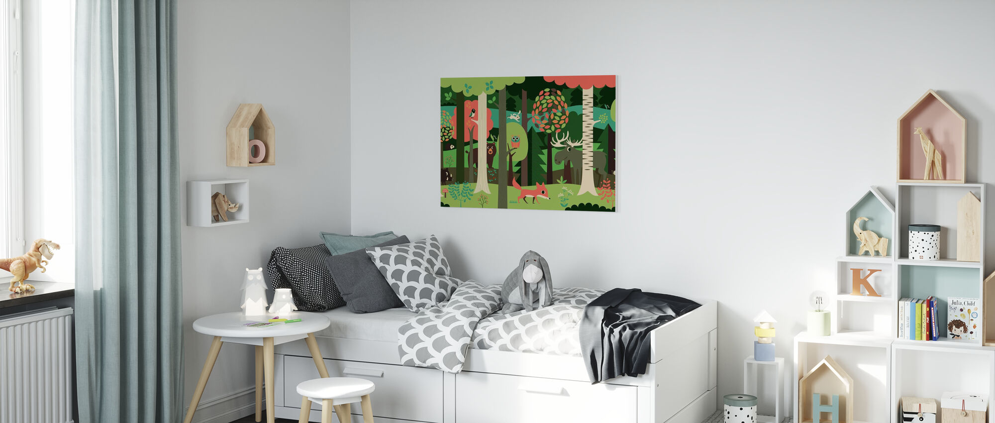 In the Forest - Green - Canvas print - Kids Room