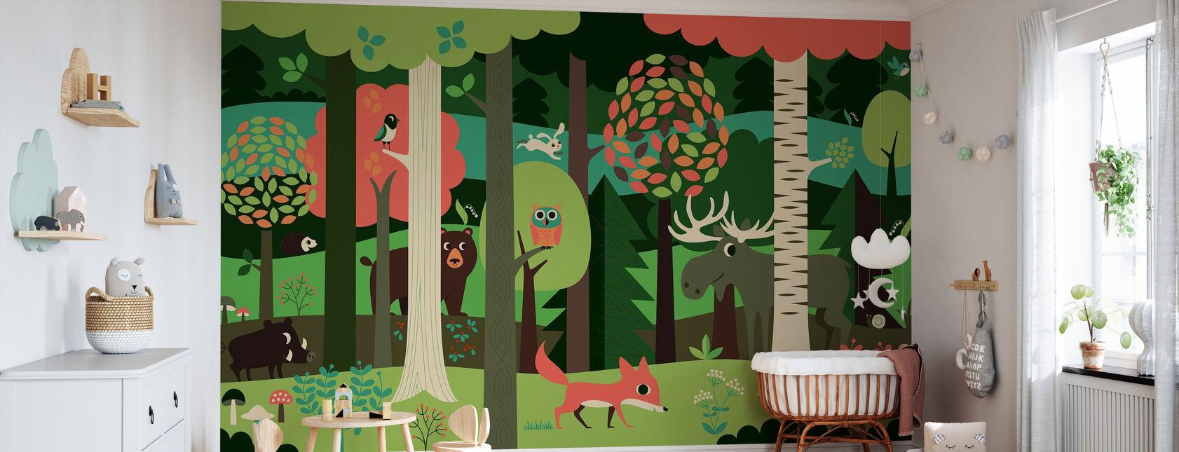 I skogen - Grønn - Tapet - Babyrom