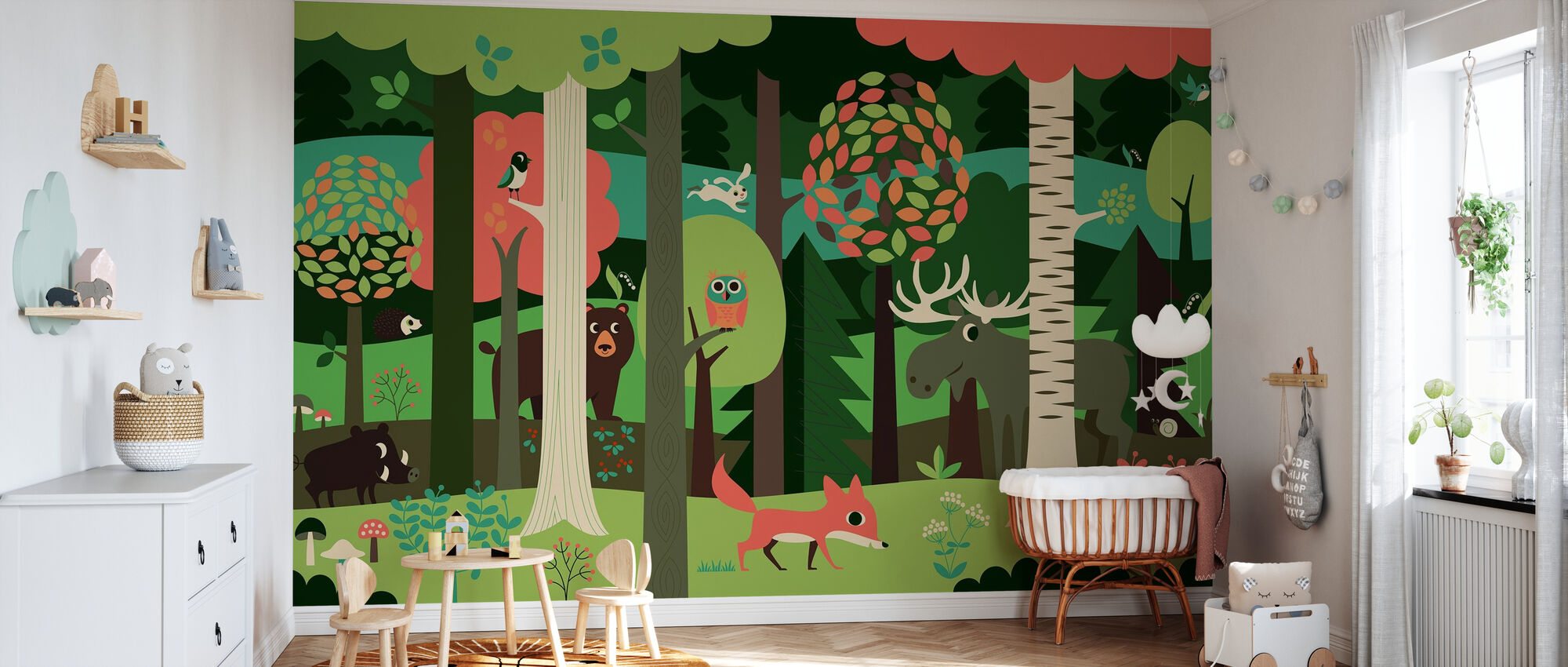 In the Forest - Green - Wallpaper - Nursery