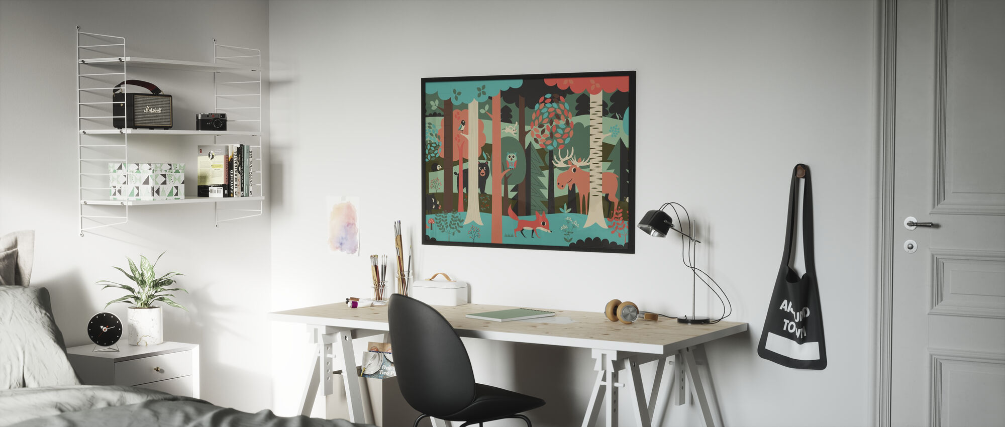 In the Forest - Turquoise - Poster - Kids Room