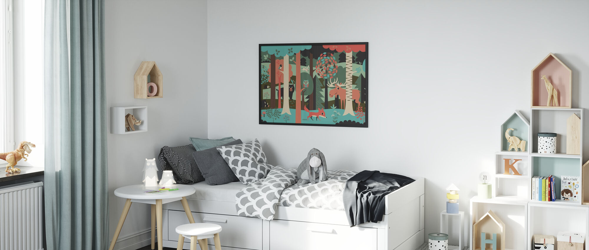In the Forest - Turquoise - Framed print - Kids Room
