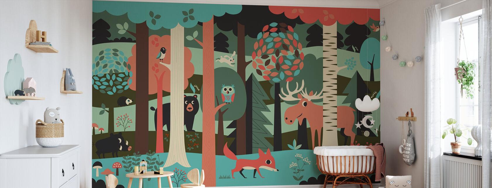 In het bos - Turkoois - Behang - Babykamer
