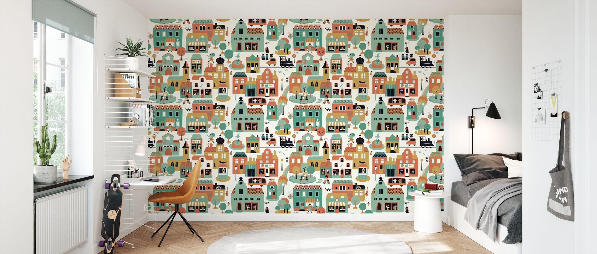 Town - Green - Wallpaper - Kids Room