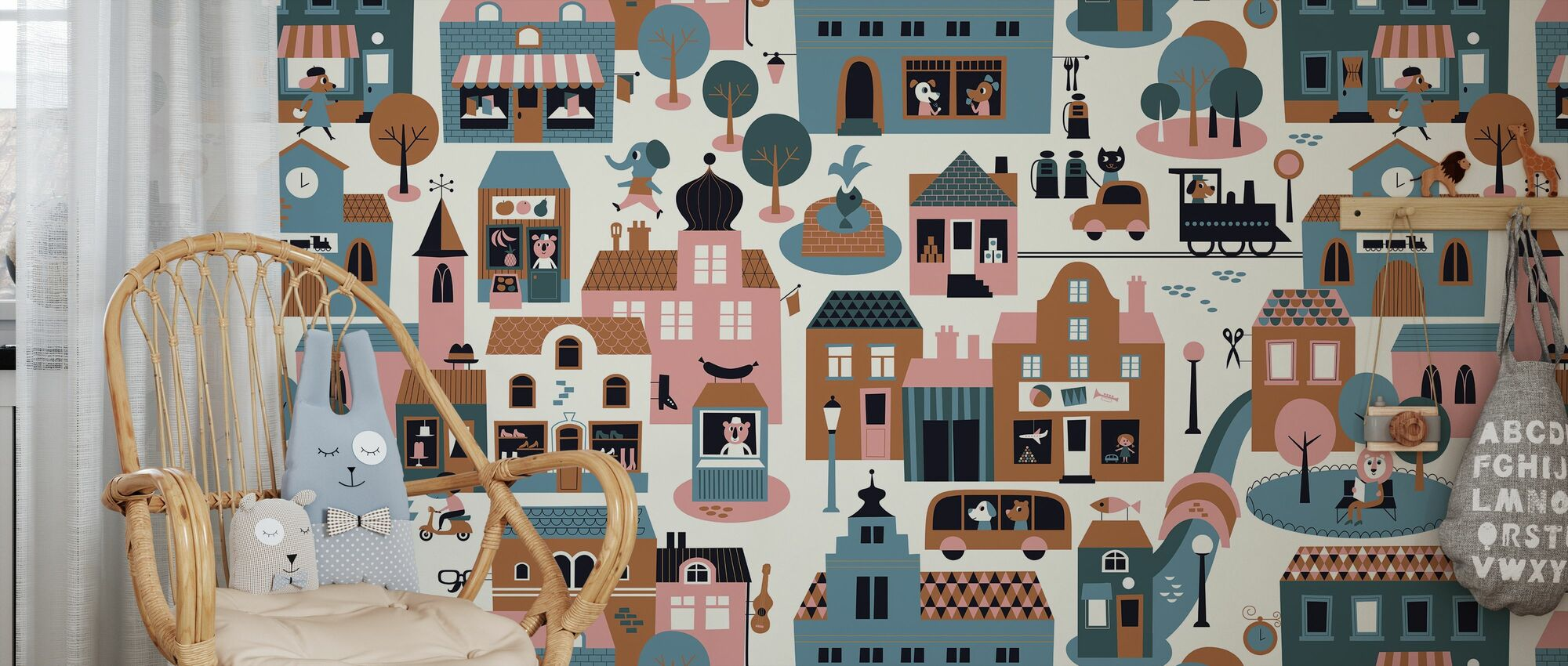 Town - Blue - Wallpaper - Kids Room