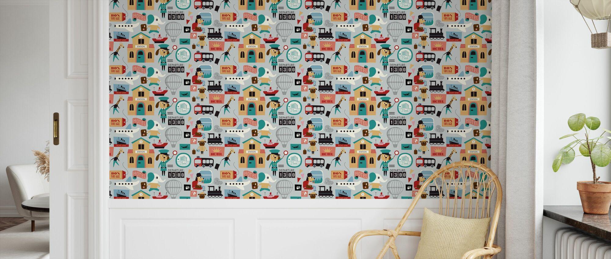 Traveling Animals - Grey - Wallpaper - Kids Room