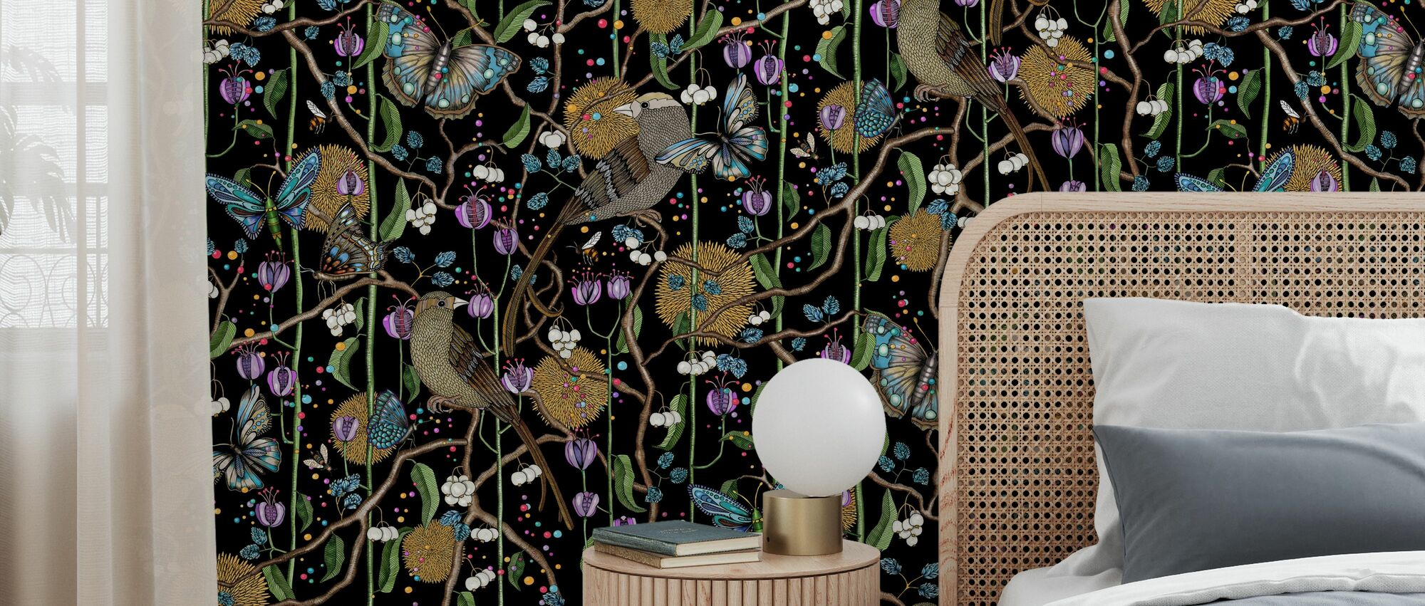 Bubblegum Bird Black - Wallpaper - Bedroom