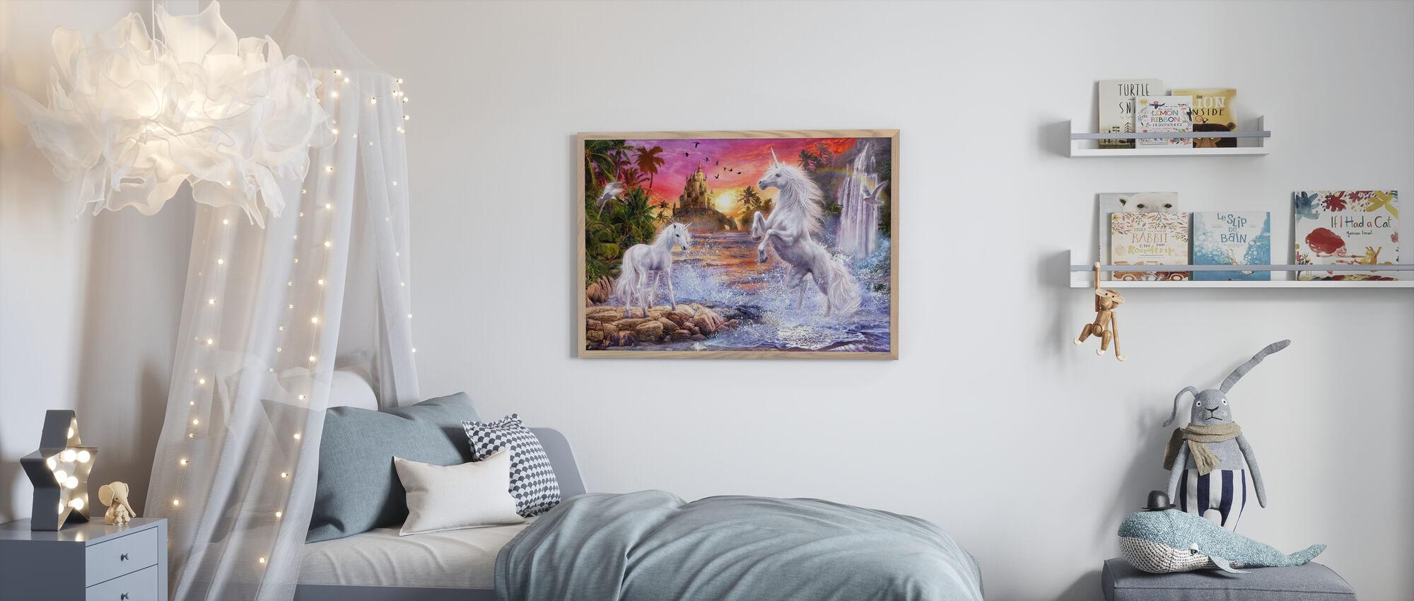 Eenhoorn waterval Zonsondergang - Ingelijste print - Kinderkamer