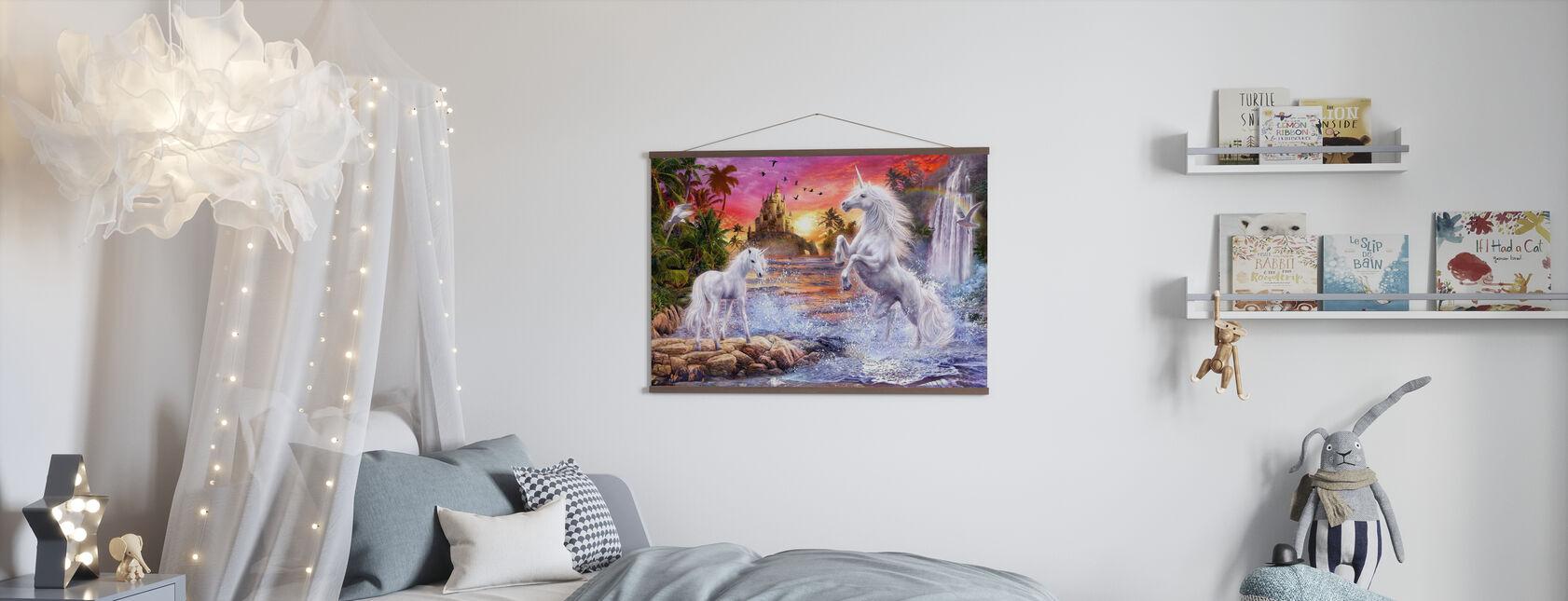 Eenhoorn waterval Zonsondergang - Poster - Kinderkamer