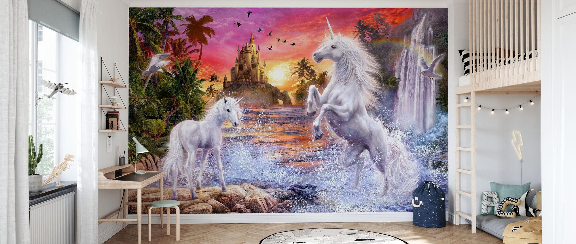 Unicorn Waterfall Sunset - Wallpaper - Kids Room