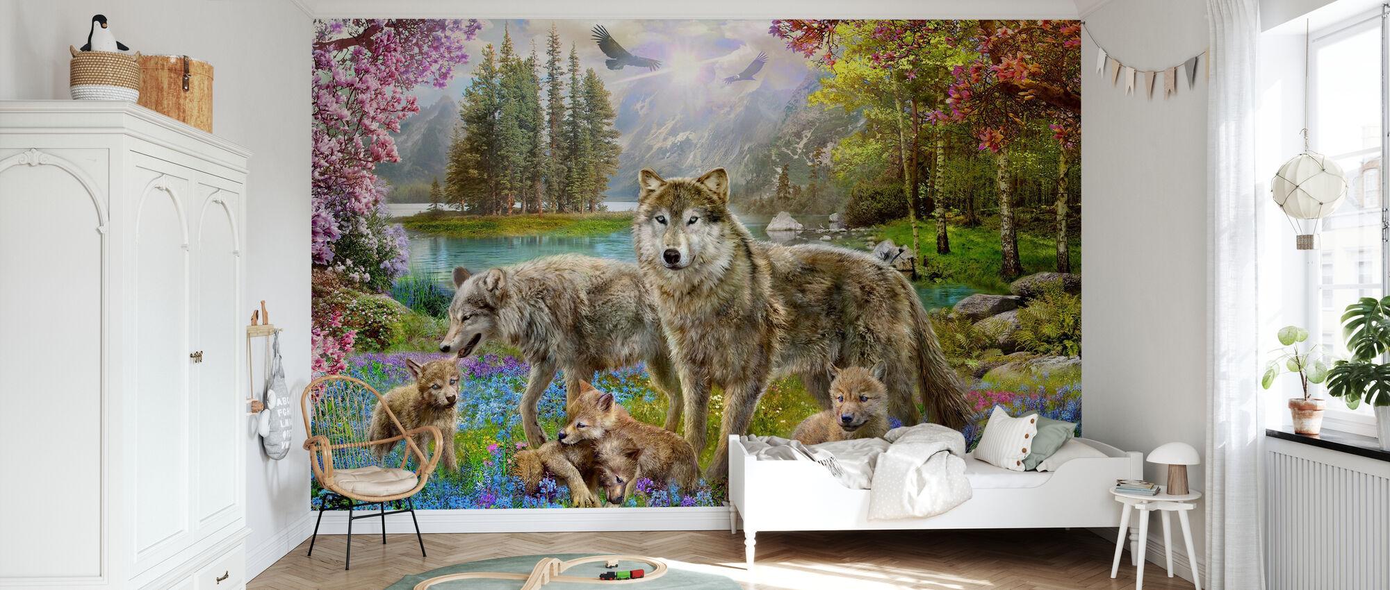 Våren ulv familie - Tapet - Barnerom