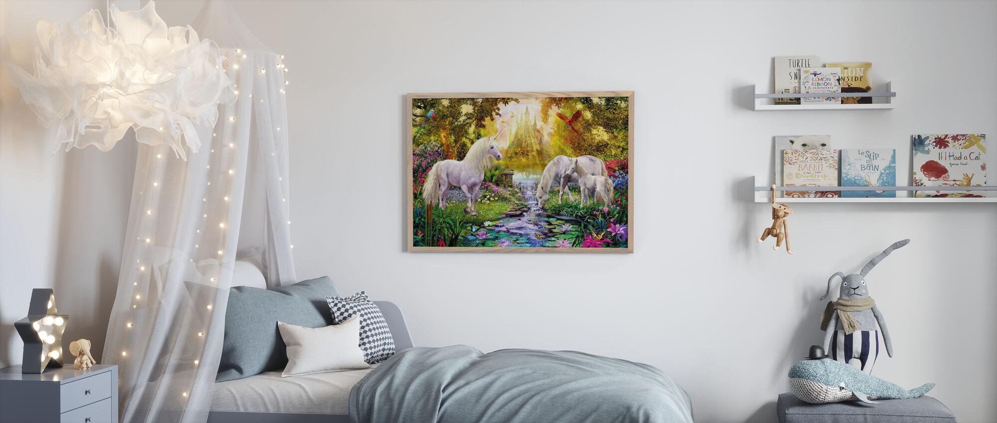 The Castle Unicorn Garden - Framed print - Kids Room