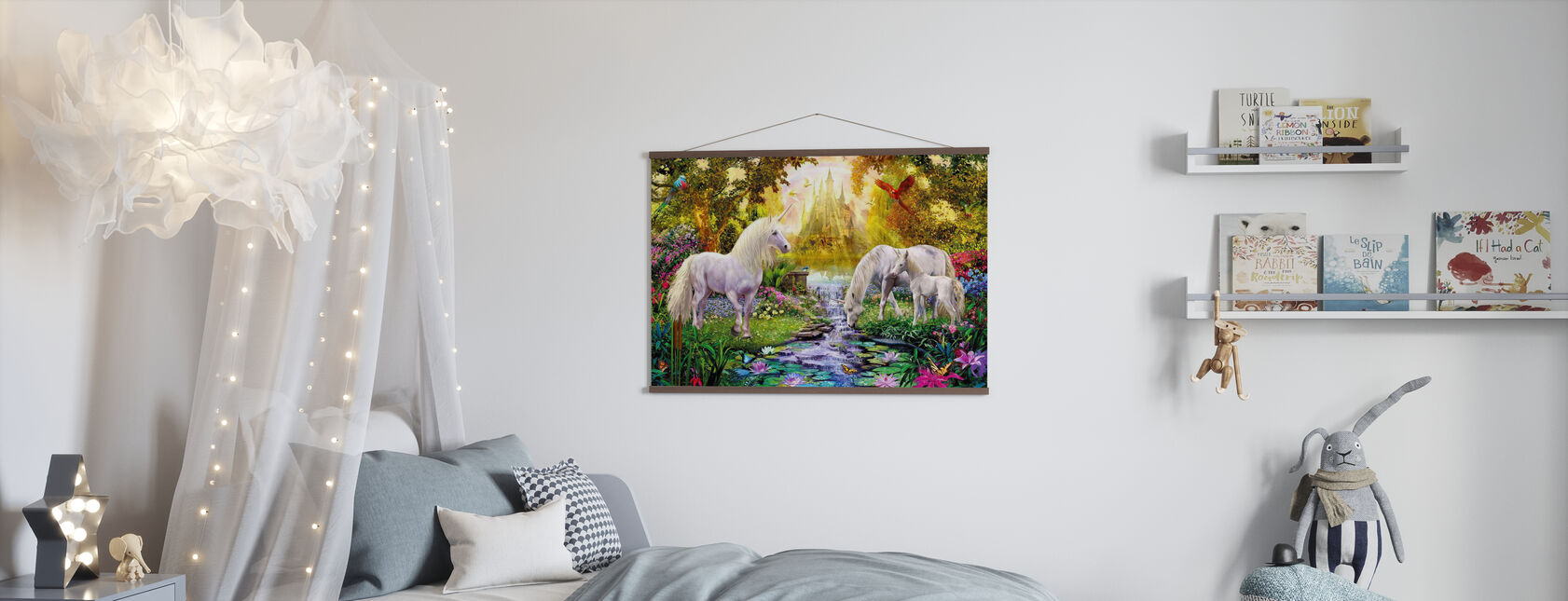 The Castle Unicorn Garden - Poster - Kids Room