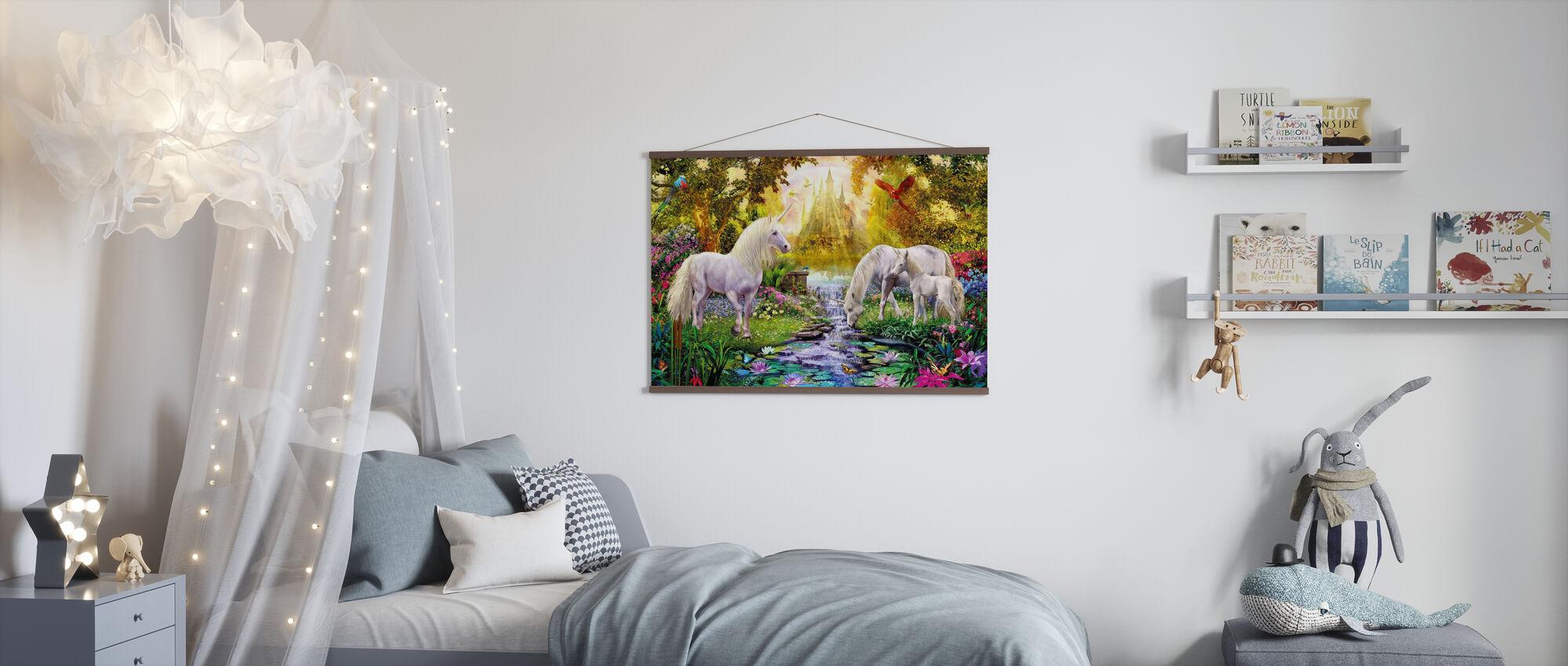 The Castle Unicorn Garden - Poster - Kids Room