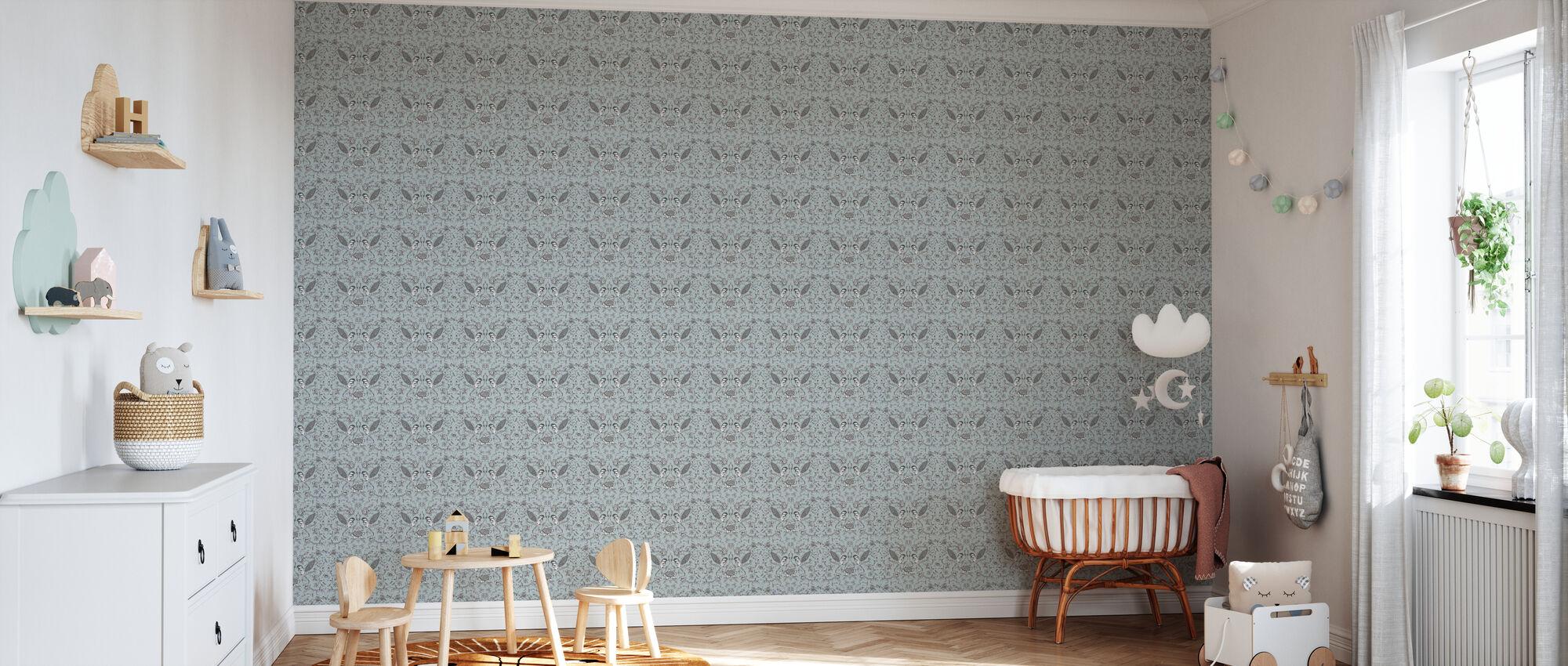 Birds - Light Blue - Wallpaper - Nursery