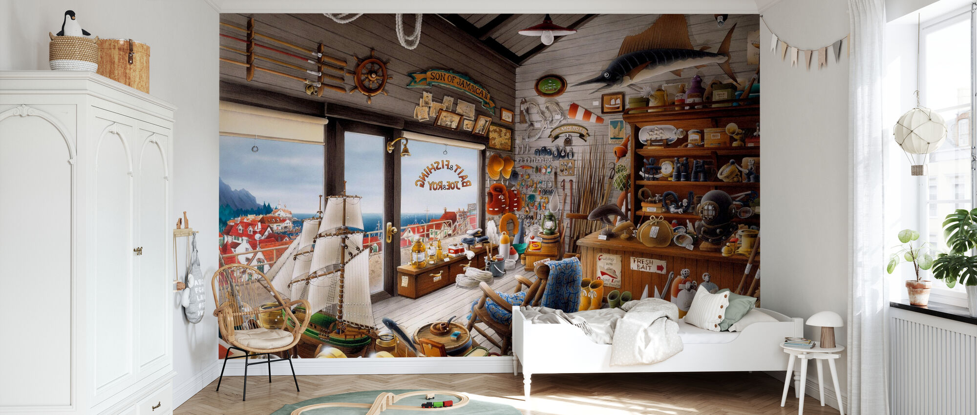 Fishing Shop - Wallpaper - Kids Room