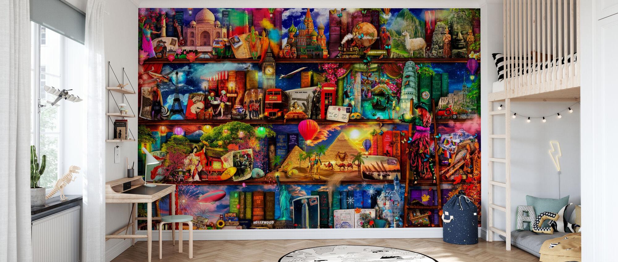 World Travel Bücherregal - Tapete - Kinderzimmer