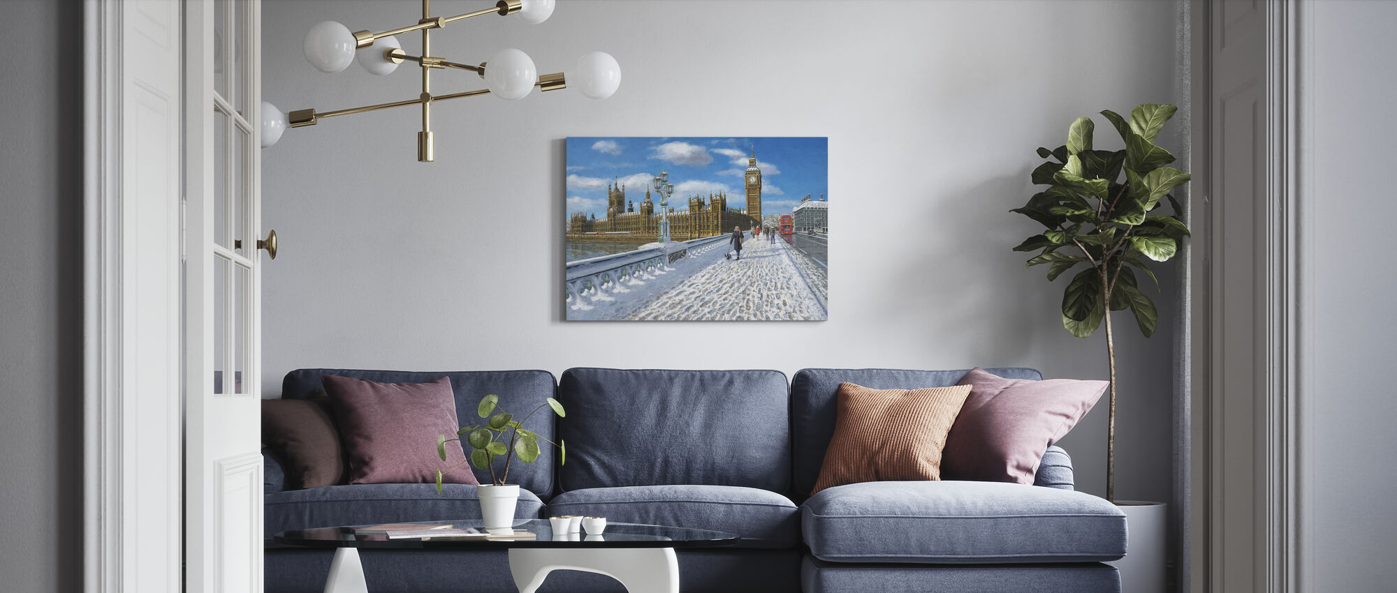 Winter sun Houses of Parliament - London - Canvas print - Living Room