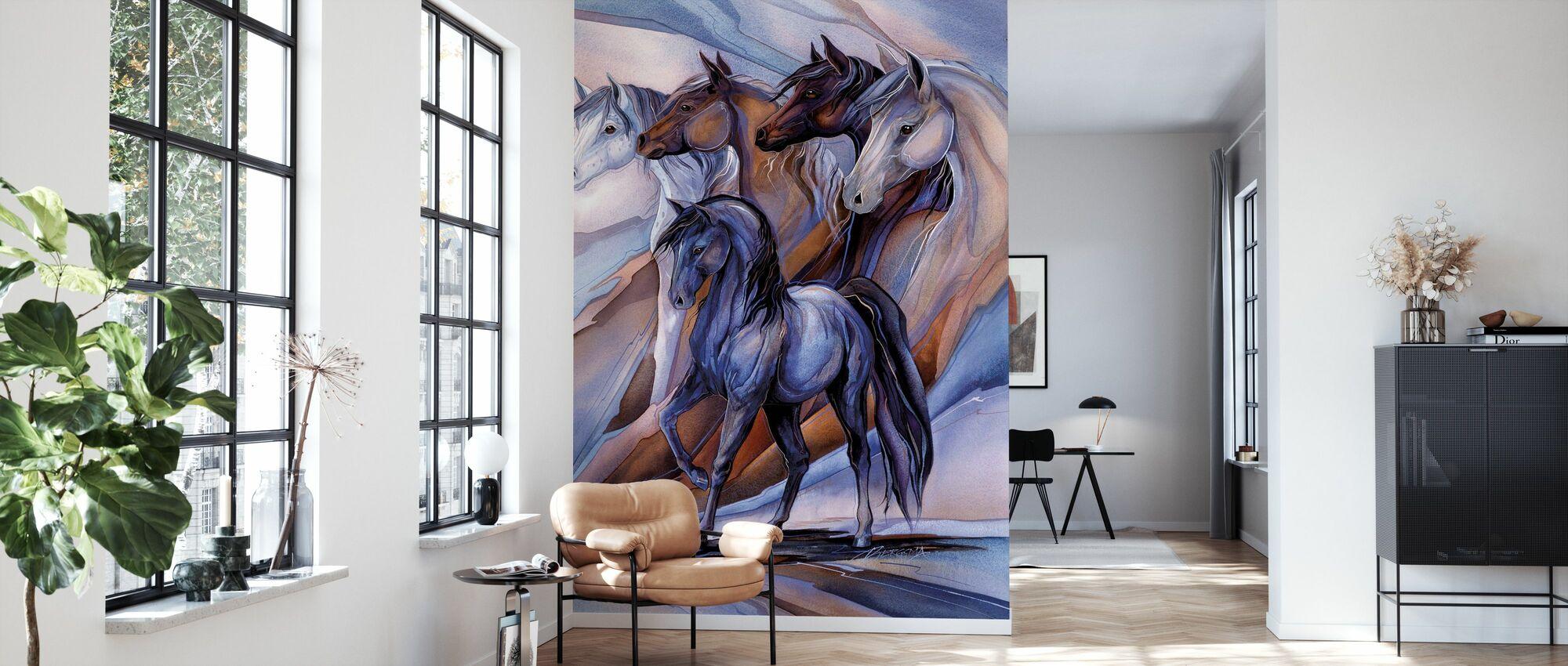 Inspirert av de fem hestene - Tapet - Stue