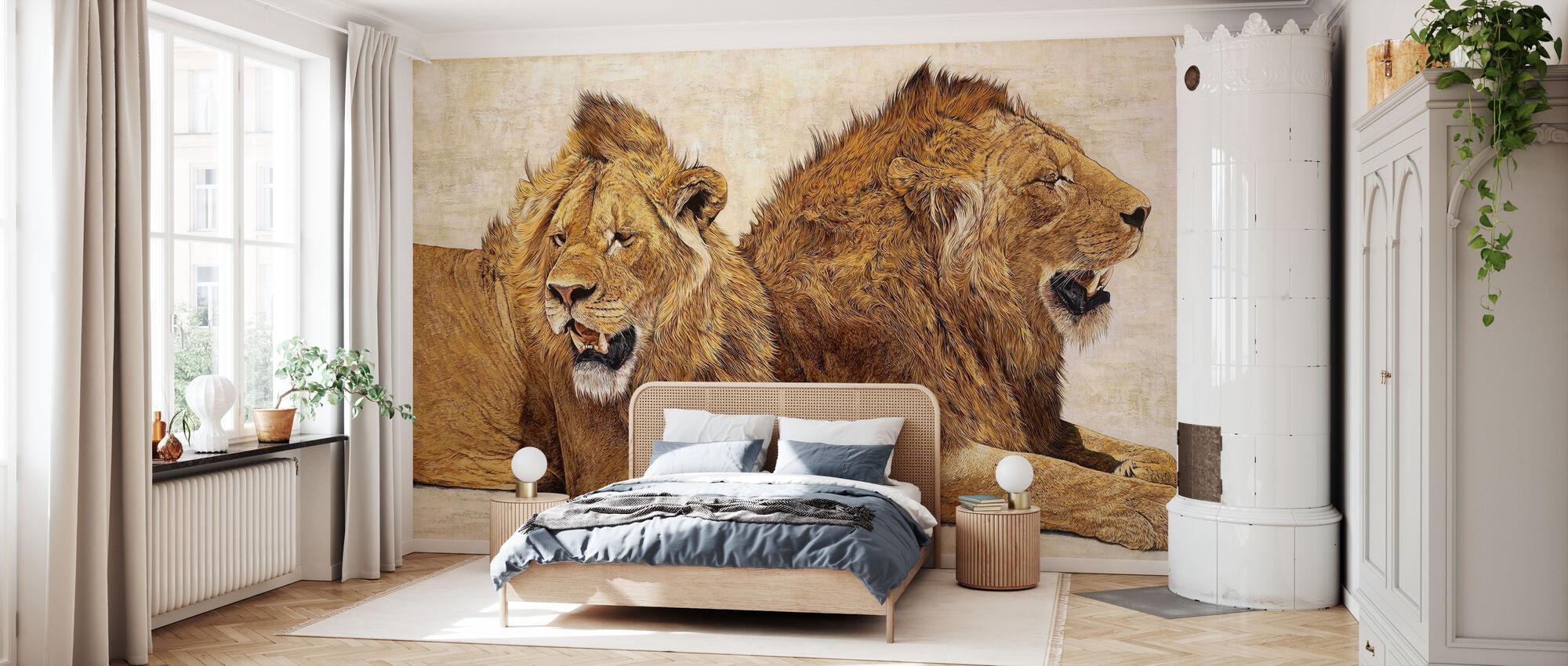 Leeuwen van Ngorongoro - Behang - Slaapkamer
