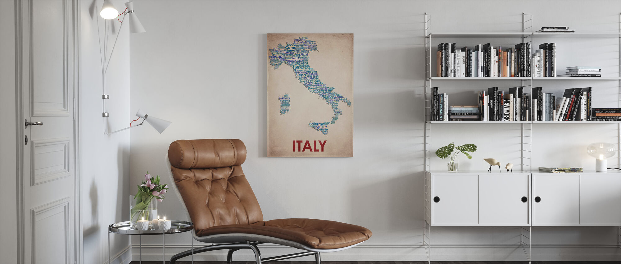 Italia Kartta - Canvastaulu - Olohuone