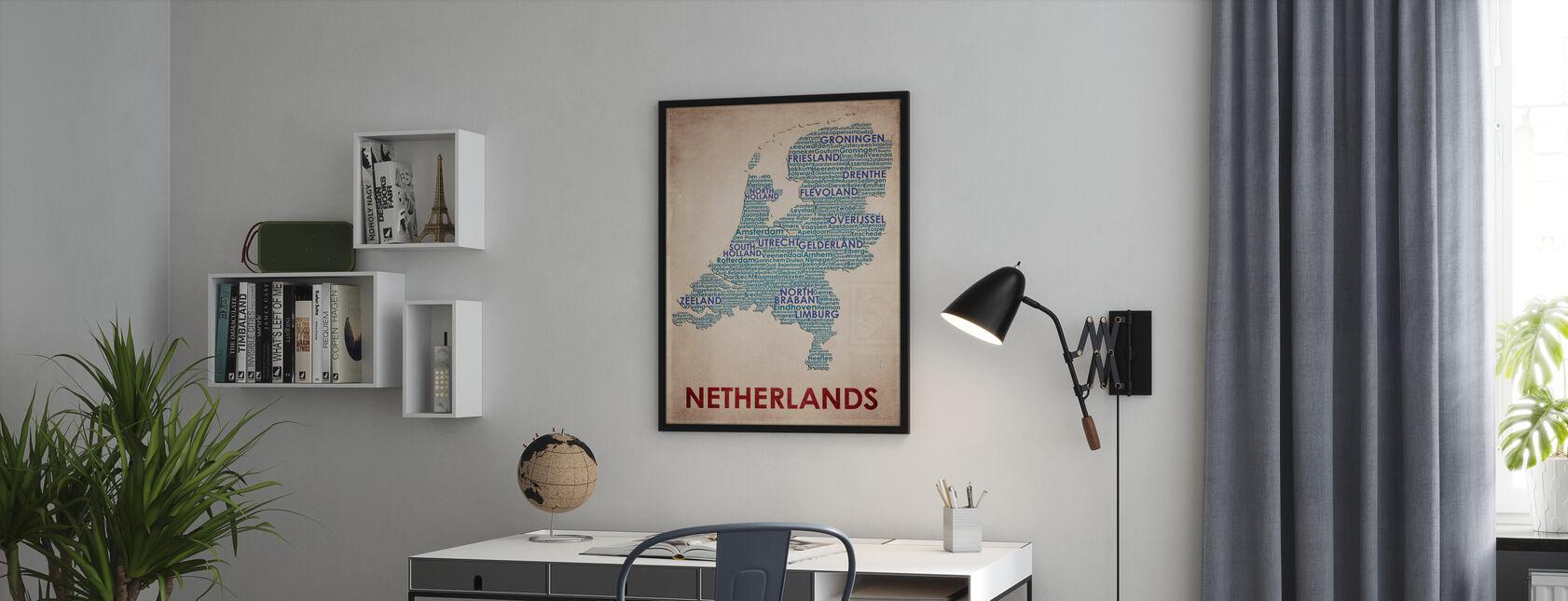 Nederland Kaart - Ingelijste print - Kantoor