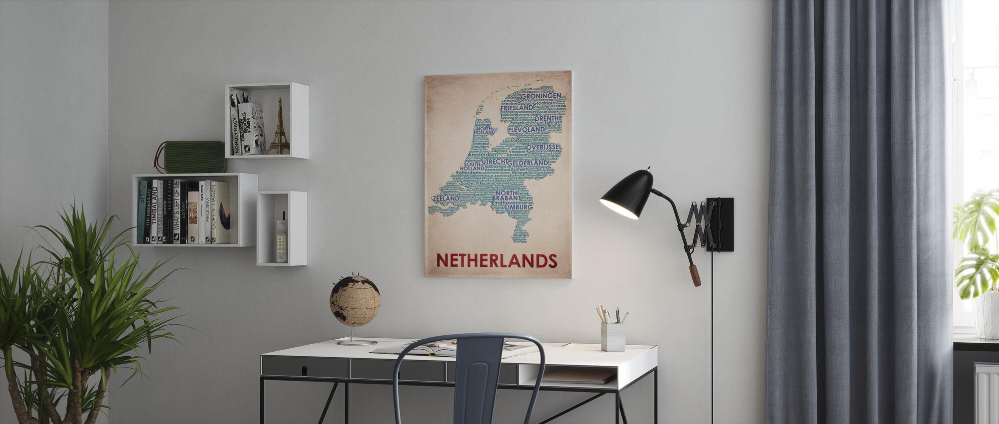 Nederland Kort - Billede på lærred - Kontor