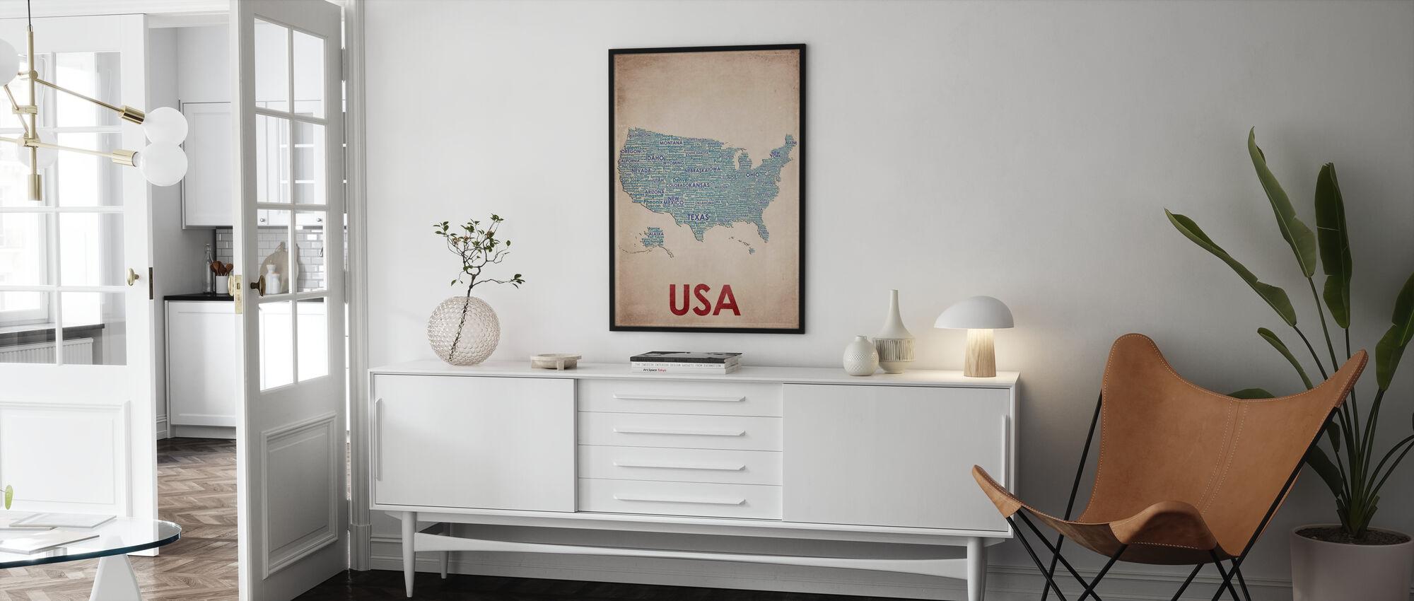 USA Kaart - Poster - Woonkamer
