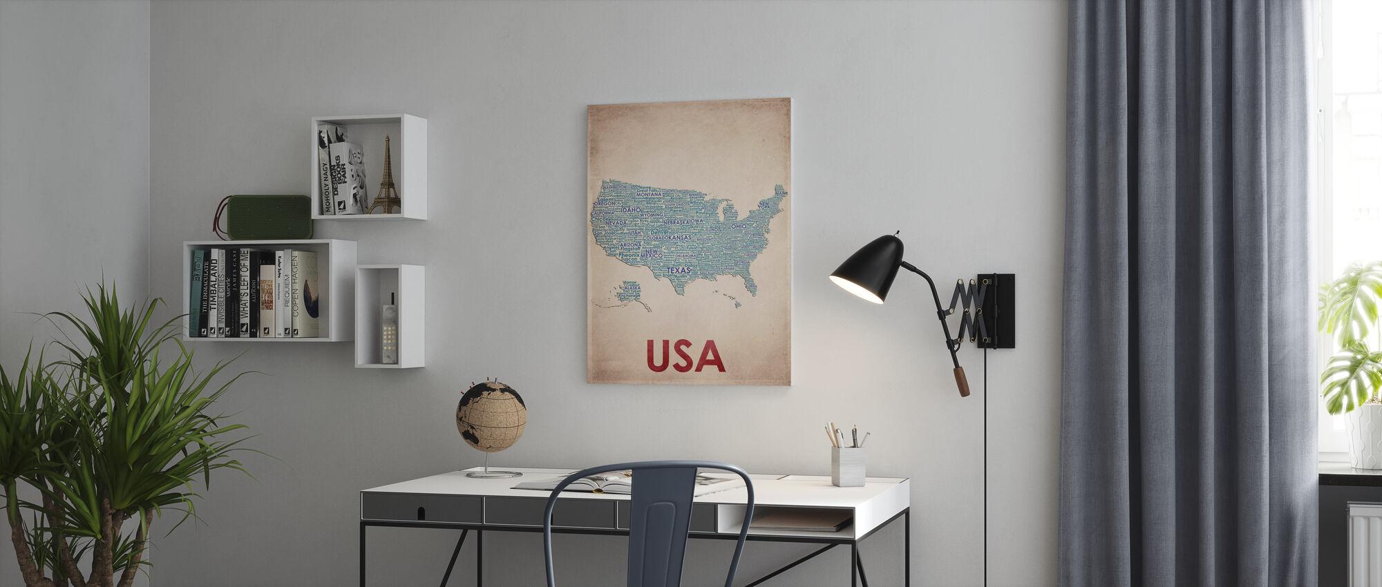 USA Kort - Billede på lærred - Kontor