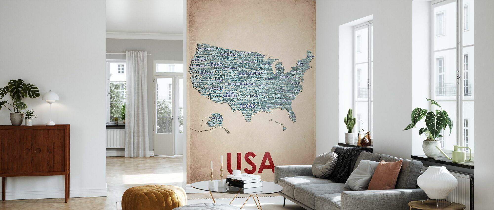 USA Map - Wallpaper - Living Room