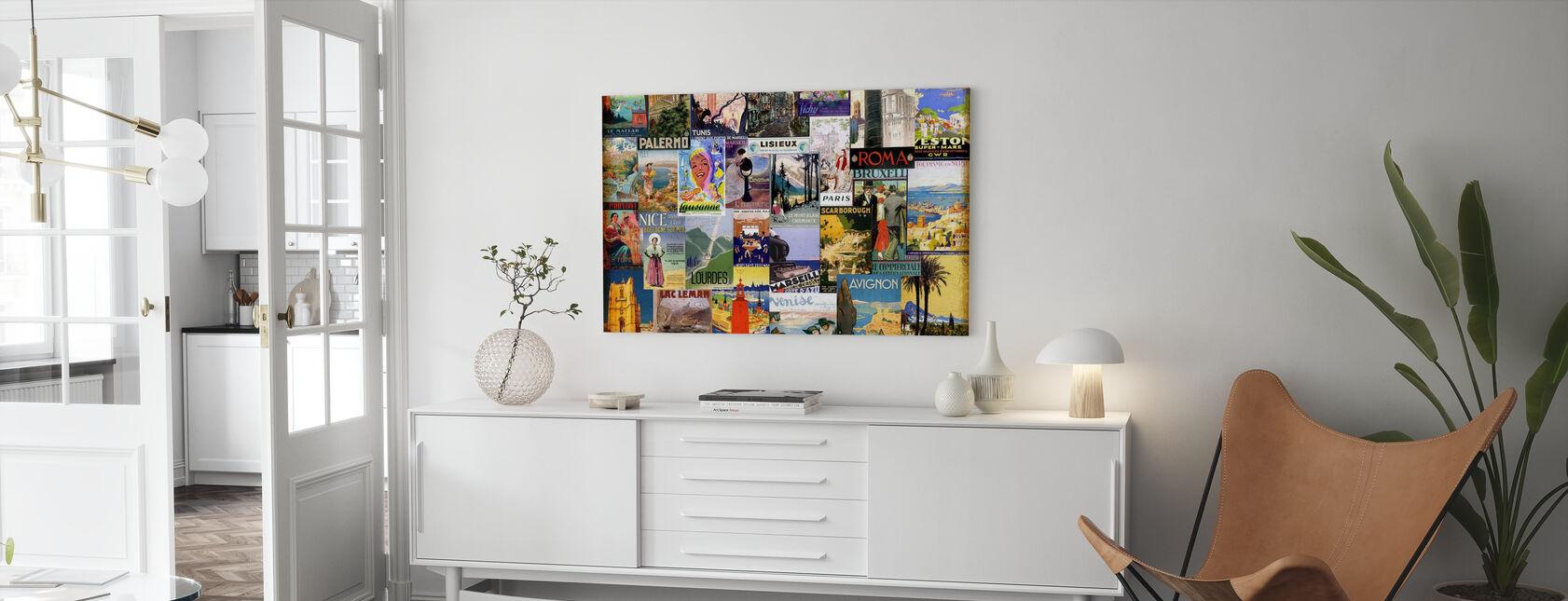 Kolaż miast europejskich - Obraz na płótnie - Pokój dzienny