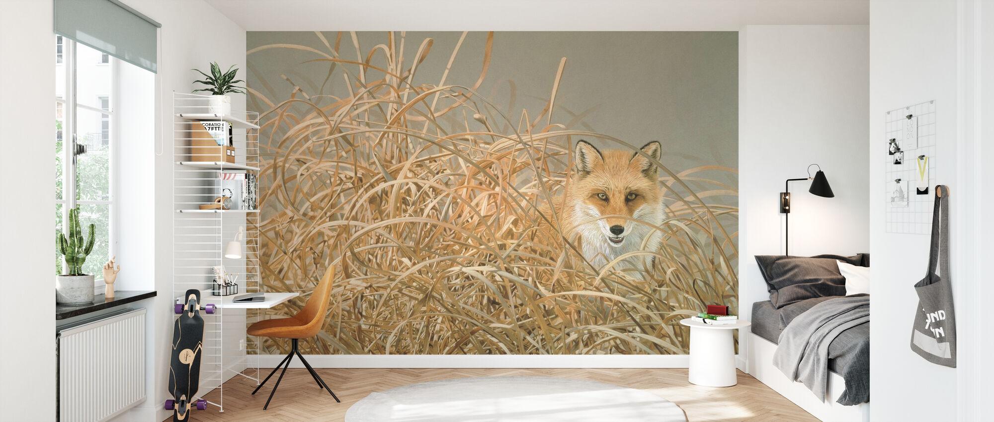 Rødt Fox - Tapet - Barnerom