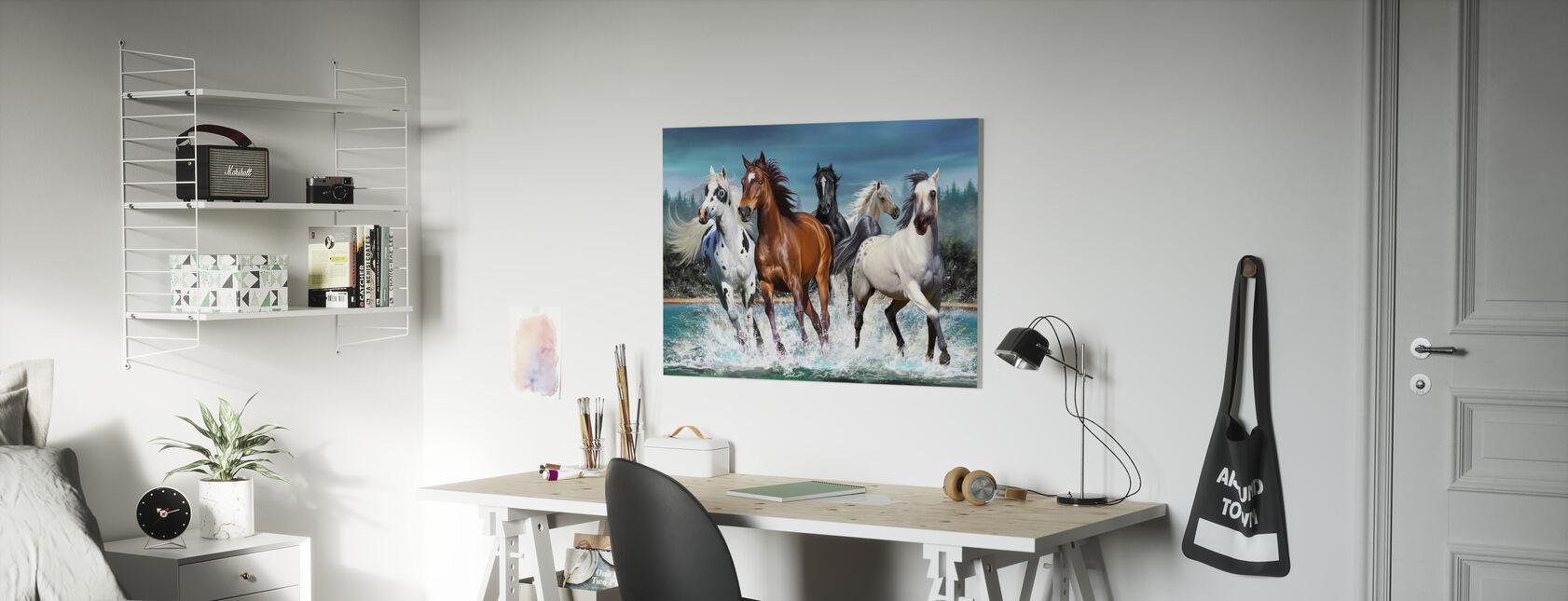 Løpende hester - Lerretsbilde - Barnerom