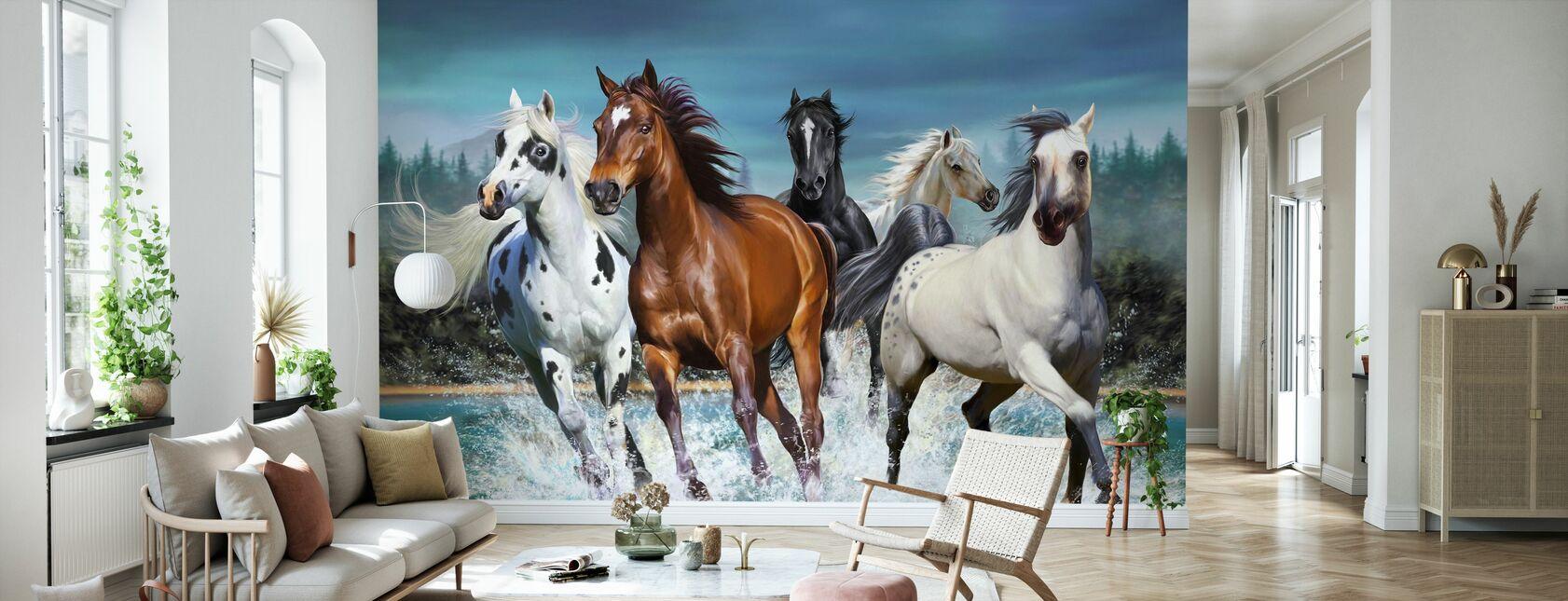 Running Hästar - Tapet - Vardagsrum
