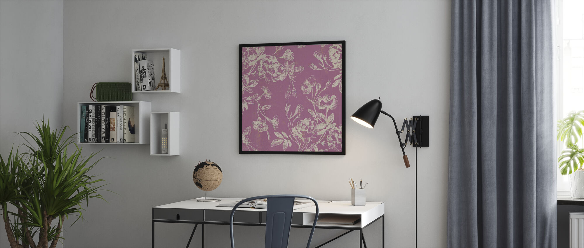 Pink Flowers - Framed print - Office