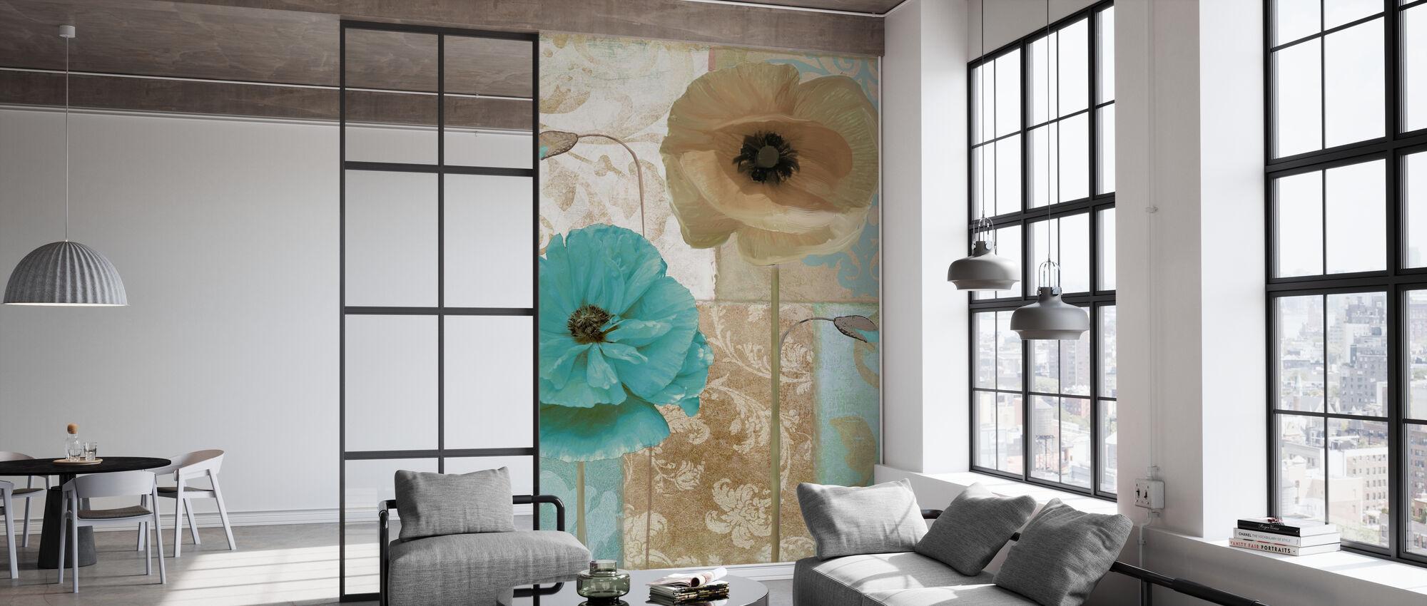 Blue & Beige Flowers - Wallpaper - Office