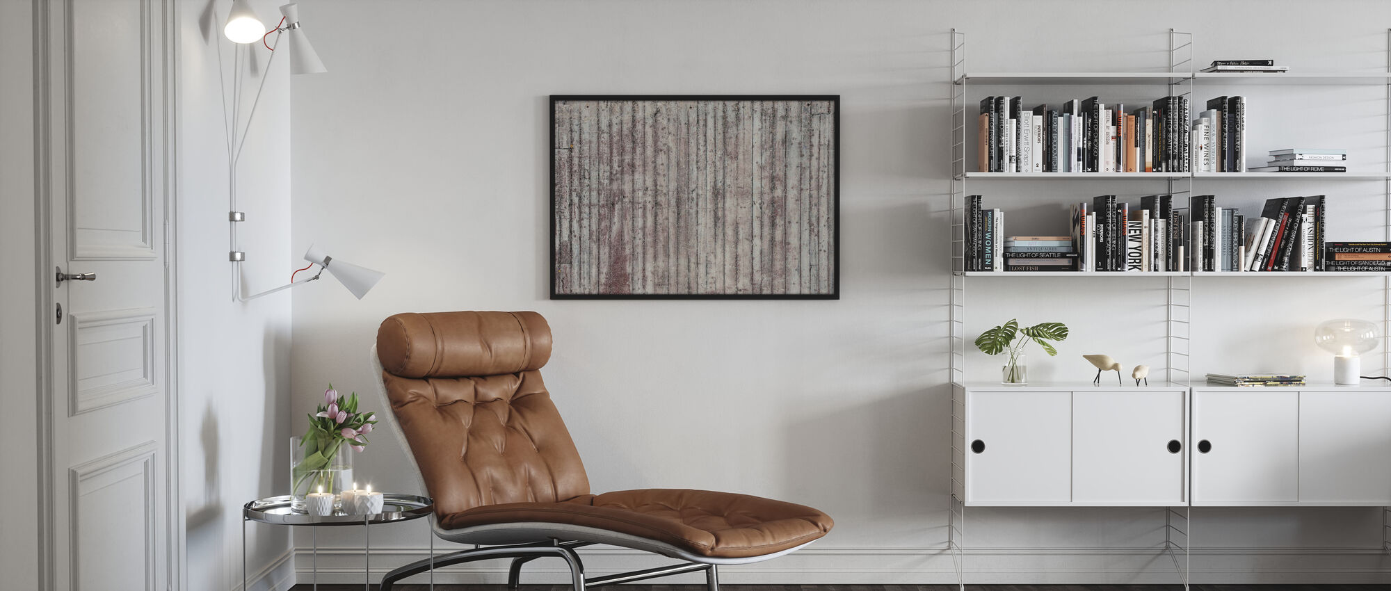 Concrete Wooden Wall - Poster - Living Room