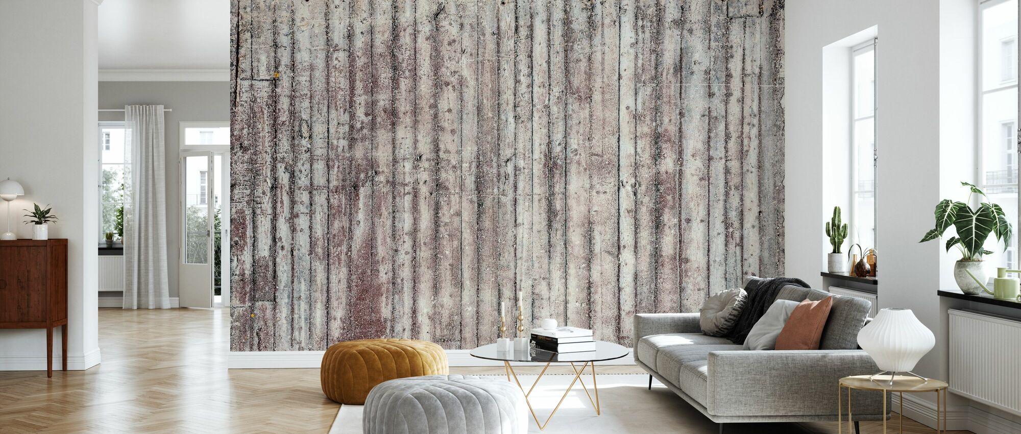 Betonwand aus Holz - Tapete - Wohnzimmer