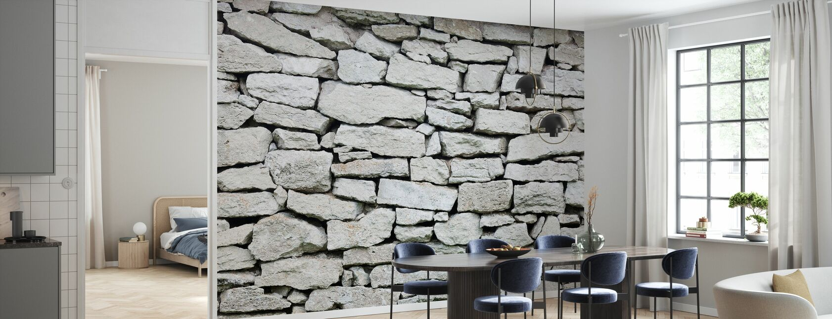 Grey Stone Wall - Wallpaper - Kitchen